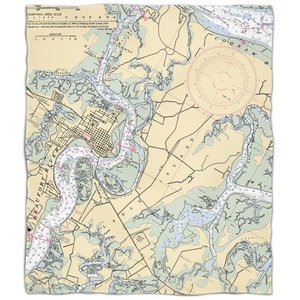 Sc: Beaufort & Ladys Island, Sc Nautical Chart Fleece Throw Blanket