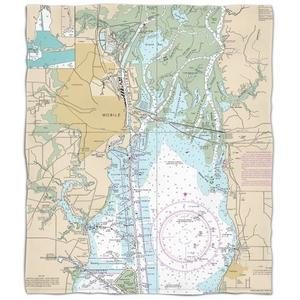 Al: Mobile, Al Nautical Chart Fleece Throw Blanket