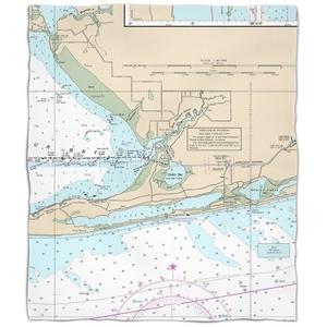 Al: Gulf Shores, Al Nautical Chart Fleece Throw Blanket