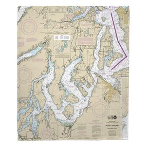 Wa: Puget Sound Southern, Wa Nautical Chart Fleece Throw Blanket