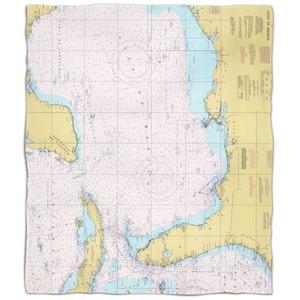 Gulf Of Mexico Nautical Chart Fleece Throw Blanket