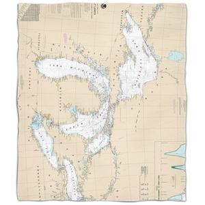 Great Lakes Nautical Chart Fleece Throw Blanket