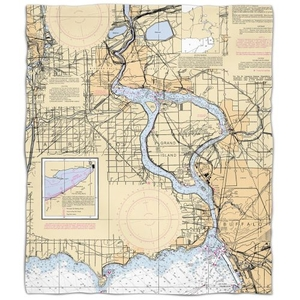 Ny: Niagra Falls, Ny Nautical Chart Fleece Throw Blanket