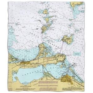 Oh: Port Clinton, Sandusky, Oh Nautical Chart Fleece Throw Blanket