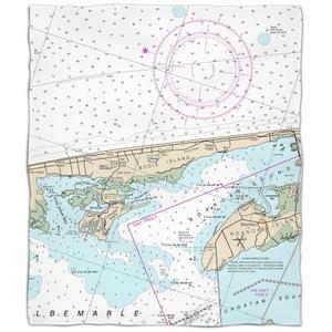 Nc: Kill Devil Hills, Nags Head, Nc Nautical Chart Fleece Throw Blanket