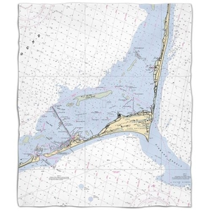 Nc: Cape Hatteras, Nc Nautical Chart Fleece Throw Blanket