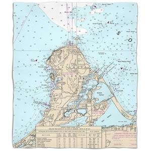 Oh: Catawba Island, Oh Nautical Chart Fleece Throw Blanket