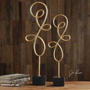 Arka Metallic Gold Sculpture S/2