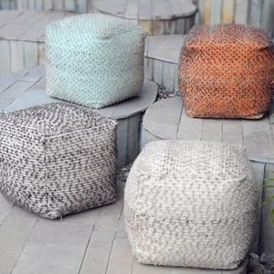 Valda Linen Wool Pouf