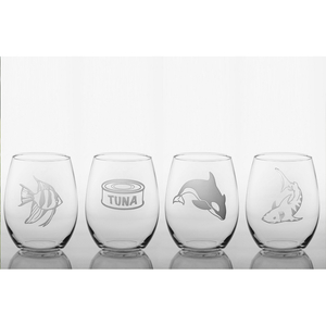 Fish Food Wine  Glass Tumbler Set Of 4