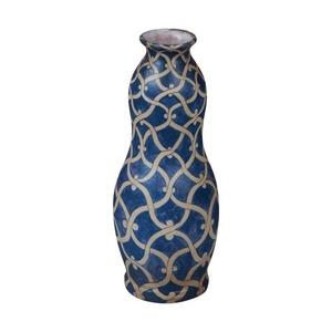 European Chainlink Vase, Blue, White