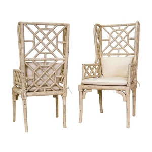 Bamboo Wing Back Chair, Cream