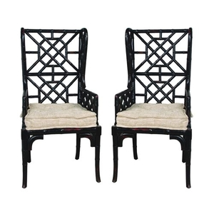 Bamboo Wing Back Chair, Black