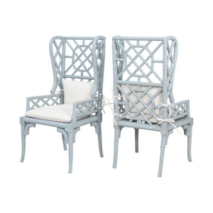 Bamboo Wing Back Chairs In Manor Slate - Set of 2, Manor Slate