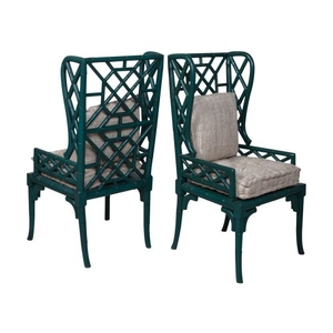 Bamboo Wing Back Chair, Teal
