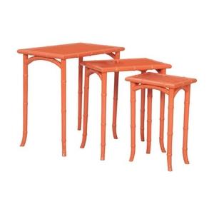 Loft Bamboo Nesting Tables In Loft Tangerine - Set Of 3, Loft Tangerine