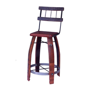 Wood Stave Stool W/ Back 28""