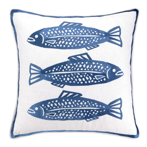 3 Fish Navy Embroidered Pillow