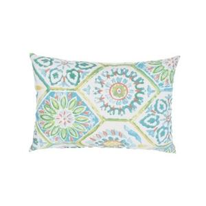 Summer Breeze Aqua / White Floral Indoor / Outdoor Throw Pillow 18 inch