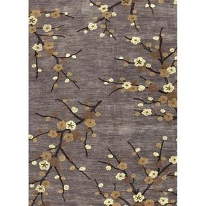 "Cherry Blossom Handmade Floral Gray / Gold Area Rug (3'6""  x  5'6"")"