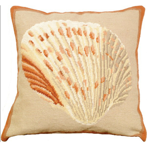 Atlantic Cockle Shell Needlepoint Pillow