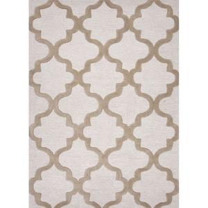 Miami Handmade Trellis White / Tan Area Rug (8'  x  11')