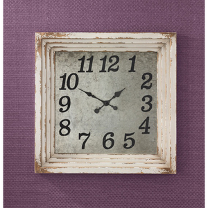 Aged Cream Distressed Clock