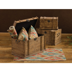 Distressed Wood Trunk Set Of 3