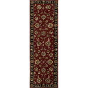 "Anthea Handmade Floral Red / Black Runner Rug (2'6""  x  8')"