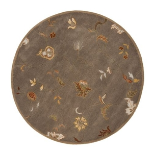 Alsace Handmade Floral Taupe / Multicolor Round Area Rug (6'  x  6')