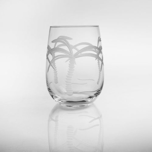 Palm Tree Stemless White Wine Tumbler 17Oz Set Of 4