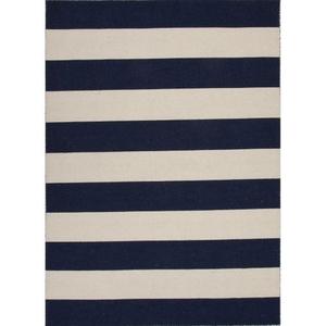 Tierra Handmade Stripe Navy / White Area Rug (5'  x  8')