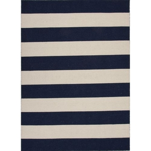 Tierra Handmade Stripe Navy / White Area Rug (9'  x  12')