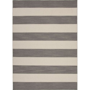 Tierra Handmade Stripe Gray / White Area Rug (4'  x  6')
