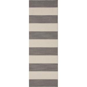 """Tierra Handmade Stripe Gray / White Runner Rug (2'6""""  x  8')"""