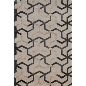 Addy Handmade Geometric Gray / Beige Area Rug (5'  x  8')