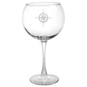 Compass Etched Balloon Wine Glass Set Of 4