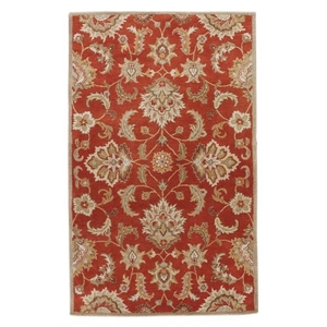 Abers Handmade Floral Orange / Tan Area Rug (8'  x  10')