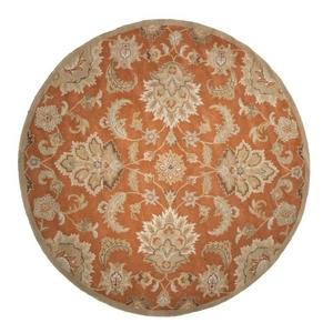 Abers Handmade Floral Orange / Tan Round Area Rug (8'  x  8')