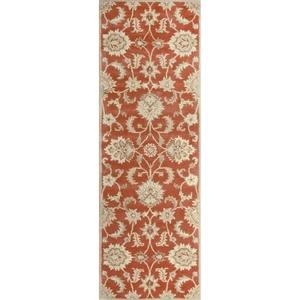 Abers Handmade Floral Orange / Tan Runner Rug (4'  x  16')