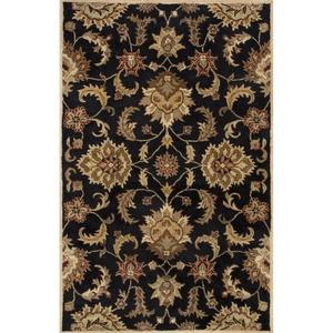 Abers Handmade Floral Black / Tan Area Rug (10'  x  15')