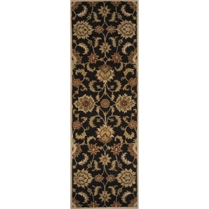 "Abers Handmade Floral Black / Tan Runner Rug (2'6""  x  10')"