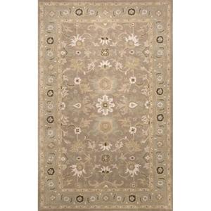 Abralin Handmade Floral Gray / Tan Area Rug (9'  x  12')