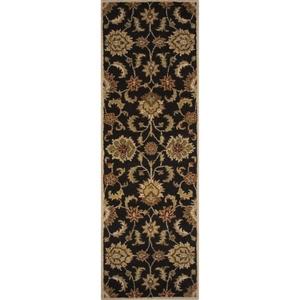 "Abers Handmade Floral Black / Tan Runner Rug (2'6""  x  8')"