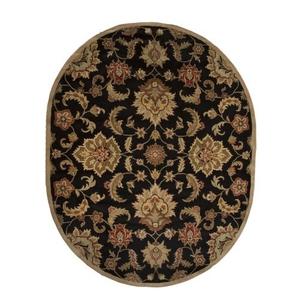 Abers Handmade Floral Black / Tan Oval Area Rug (8'  x  10')