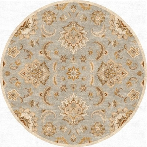 Abers Handmade Floral Blue / Tan Round Area Rug (8'  x  8')