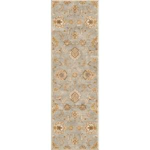 Abers Handmade Floral Blue / Tan Runner Rug (3'  x  12')