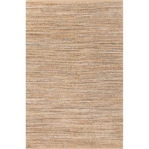 "Canterbury Natural Solid Tan / Black Area Rug (3'6""  x  5'6"")"