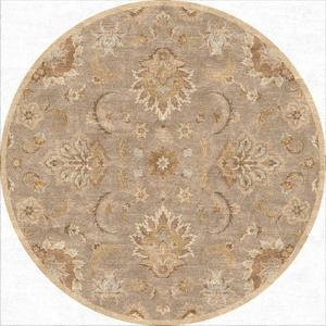 Abers Handmade Floral Gray / Beige Round Area Rug (8'  x  8')