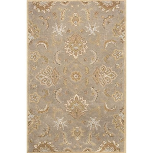 Abers Handmade Floral Gray / Beige Area Rug (4'  x  6')